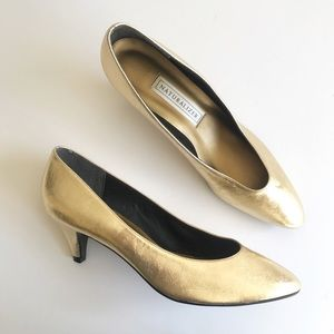 Naturalizer Gold Metallic Heels Vintage Style 9.5